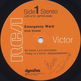 Nina Simone / In Concert - Emergency Ward! label