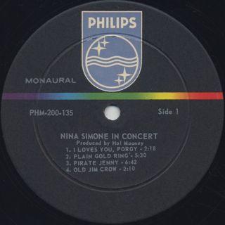 Nina Simone / In Concert label