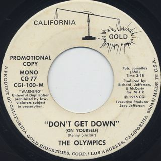 Olympics / Don't Get Down (On Yourself) back
