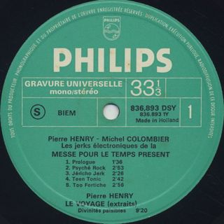 Pierre Henry / Michel Colombier / Messe Pour Le Temps Present label