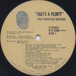 Pointer Sisters / That's A Plenty label