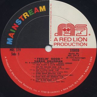 Sarah Vaughan / Feelin' Good label