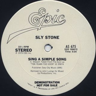 Sly Stone / Dance To The Music c/w Sing A Simple Song label