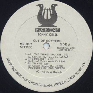 Sonny Criss / Out Of Nowhere label