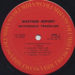 Weather Report / Mysterious Traveller label