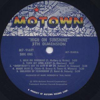 5th Dimension / High On Sunshine label