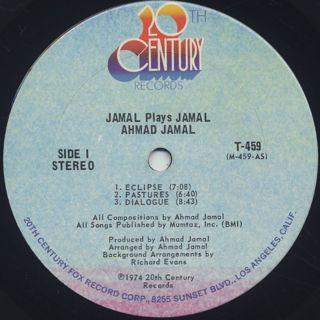 Ahmad Jamal / Jamal Plays Jamal label
