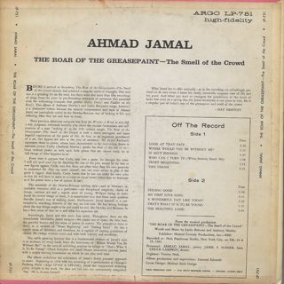 Ahmad Jamal / The Roar Of The Greasepaint - The Smell Of The Crowd back