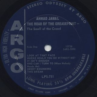 Ahmad Jamal / The Roar Of The Greasepaint - The Smell Of The Crowd label