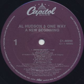 Al Hudson and One Way / A New Beginning label
