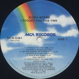 Alicia Myers / I Fooled You This Time label