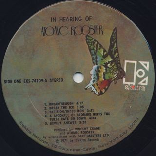 Atomic Rooster / In Hearing Of label