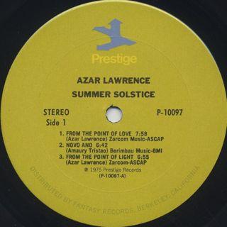 Azar Lawrence / Summer Solstice label