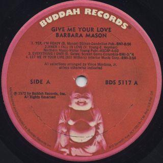 Barbara Mason / Give Me Your Love label