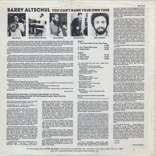 Barry Altschul / You Can't Name Your Own Tune back