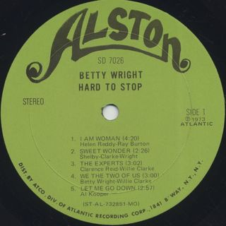Betty Wright / Hard To Stop label