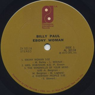 Billy Paul / Ebony Woman label