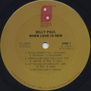 Billy Paul / When Love Is New label