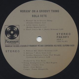 Bola Sete / Workin' On A Groovy Thing label