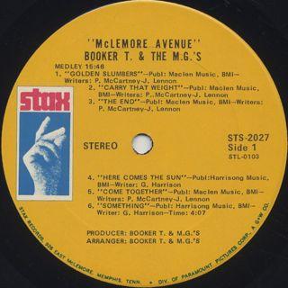 Booker T. & The M.G.'s / McLemore Avenue label