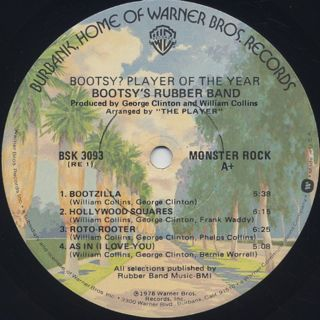 Bootsy's Rubber Band / Bootsy? Player Of The Year label