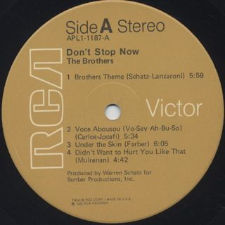 Brothers / Don't Stop Now label