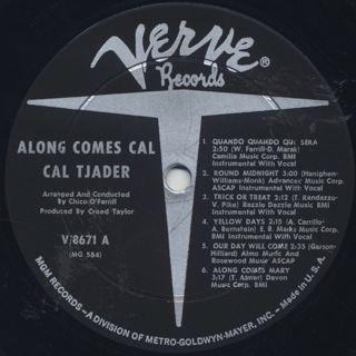 Cal Tjader / Along Comes Cal label