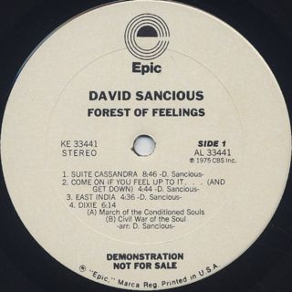 David Sancious / Forest Of Feelings label