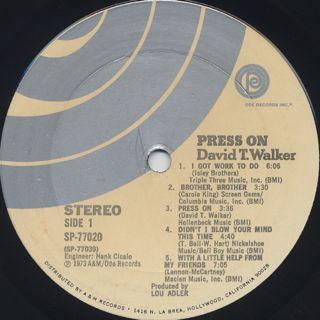 David T. Walker / Press On label