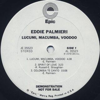Eddie Palmieri / Lucumi, Macumba, Voodoo label