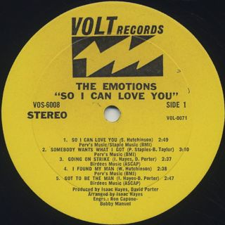 Emotions / So I Can Love You label