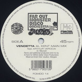 Far Out Monster Disco Orchestra / Vendetta ft. Arthur Verocai(Al Kent Remix) back