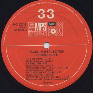 George Duke / Faces In Reflection label