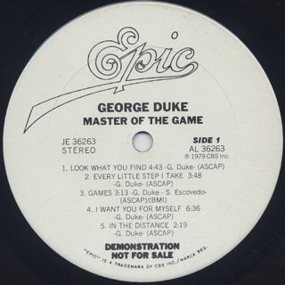 George Duke / Master Of The Game label