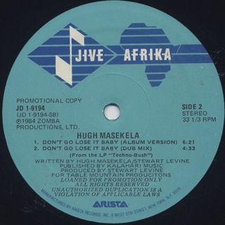 Hugh Masekela / Don't Go Lose It Baby label