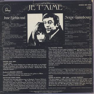 Jane Birkin And Serge Gainsbourg / Je T'Aime - Beautiful Love back