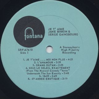 Jane Birkin And Serge Gainsbourg / Je T'Aime - Beautiful Love label