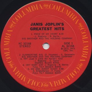 Janis Joplin / Greatest Hits label