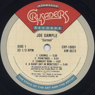 Joe Sample / Carmel (Extended Range Processing) label