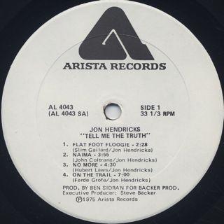 Jon Hendricks / Tell Me The Truth label