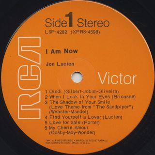 Jon Lucien / I Am Now label