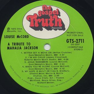 Louise Mccord / A Tribute To Mahalia Jackson label