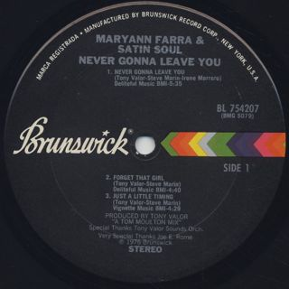 Maryann Farra & Satin Soul / Never Gonna Leave You label