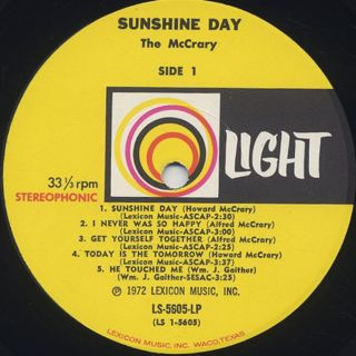 McCrarys / Sunshine Day label