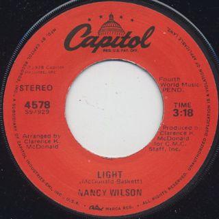 Nancy Wilson / Light c/w I'm Gonna Let Ya back