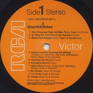 O.S.T.(Ragni, Rado, MacDermot) / DisinHAIRited label