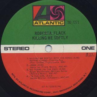 Roberta Flack / Killing Me Softly label