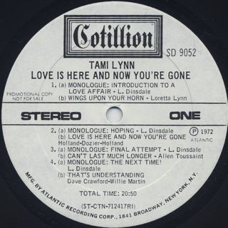Tami Lynn / Love Is Here And Now You're Gone label