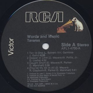 Tavares / Words And Music label