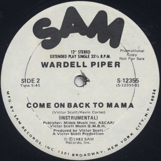 Wardell Piper / Come On Back To Mama label
